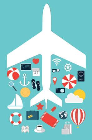 Flat illustration icons set traveling on airplane. Vector illustration Illustration