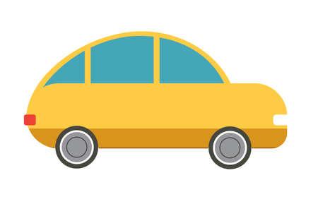 hatchback: Flat isolated yellow hatchback car. Vector illustration