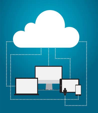 designe: Cloud server with gadgets and relations. Vector illustration, flat designe
