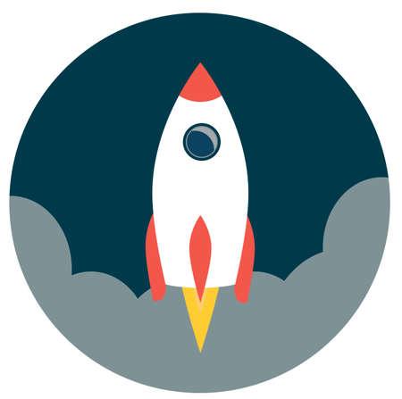 Space roket ship icon. Flat design. Vector illustration Illustration