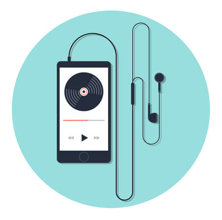 Music player and earphone with long shadow on blue background. Flat vector icon