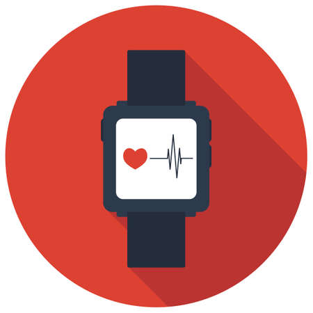 seduce: Isolated smart watch icon with a hearton red background, flat vector illustration