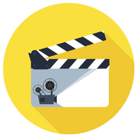 clapper board: Open clapper board icon in flat style. The concept of symbol video files. The open movie clapper board isolated from the background. Illustration