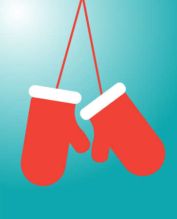 mittens: Rad isolated mittens, flat vector illustrtion on blue background