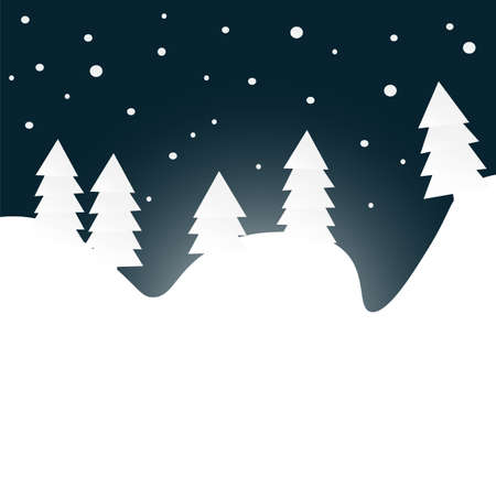 winter night: Winter night forest with snow flakes, flat vector illustration