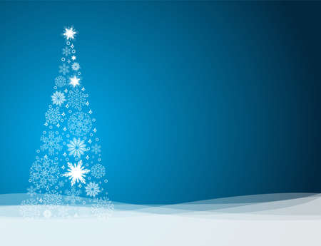 christmas snowflakes: Vector Christmas background with Christmas tree made from snowflakes, illustration on blue background
