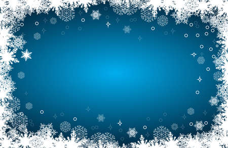 Christmas card with snowflakes frame on blue background, vector illustration Illustration