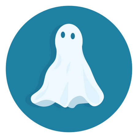 Icon ghost with shadow, flat vector illustration