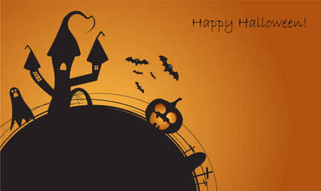 Halloween background black and orange colors, with house and bats vector illustration Illustration