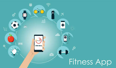 Smart phone with healthy lifesyle icons. Fitness app flat vector illustration
