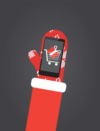 Santas hand in red mittens hold smartphone with shopping app on screen. Flat vector illustration, christmas card