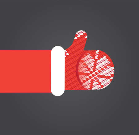 like it: Thumbs up Father Christmas like it. Flat vector illustration