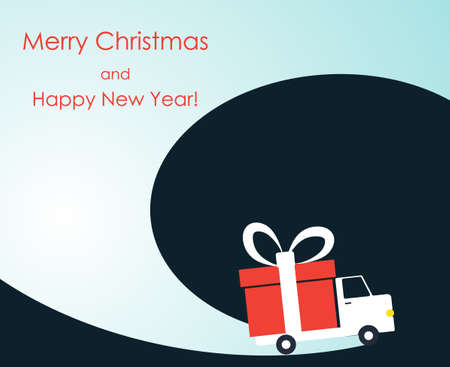 Christmas and New Year greeting card with gift delivery van goes on winter road. Vector illustration. Illustration