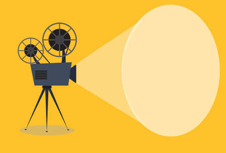 Retro cinema icon with text place, vector illustration Illustration