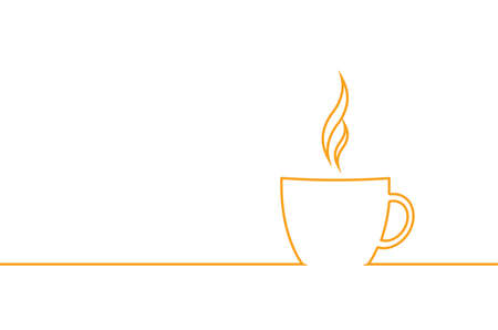 designe: Simple flat line designe a cup of coffee. Vector illustration. Stock Photo