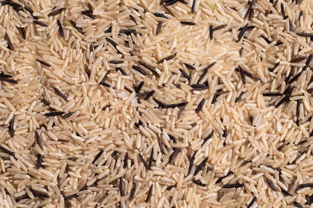 A mixture of wild and unpolished rice texture