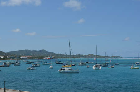 Beautiful Caribbean ocean view from the shores of Christiansted, St. Croix, U.S. Virgin Islands.
