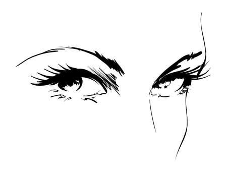bocetos de personas: Ojo vector Foto de archivo