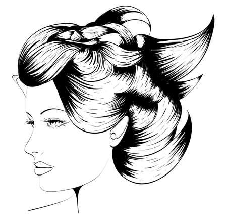 Hand-drawn fashion model. Vector illustration. Woman Stock Illustration - 10060175