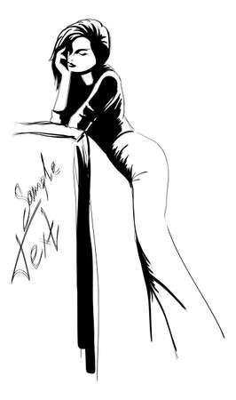 SKETCH. fashion girl. Hand-drawn fashion model. Vector illustration. Stock Illustration - 10118057
