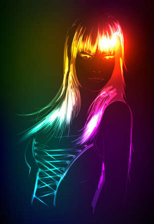 Hand-drawn fashion model from a neon. Vector illustration. A light girl