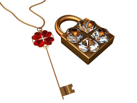 Key and the lock with hearts from jewels on a white background photo