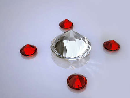 Diamond and  ruby on a white  photo