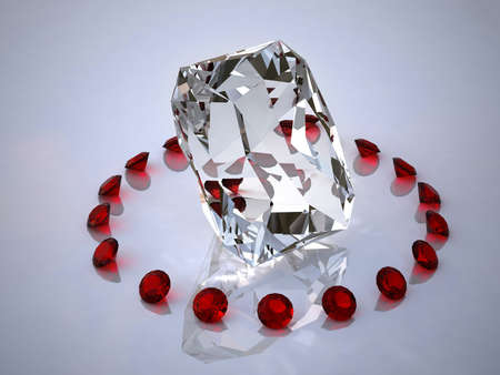 Diamond in a ring of rubies Stock Photo - 10162642