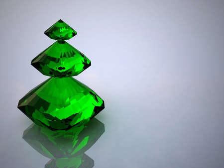 pietre preziose: Diamanti e smeraldo su uno sfondo bianco
