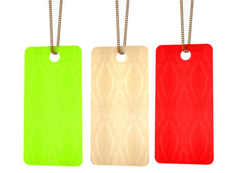 Set Of Paper Tags Isolated On White Background. photo