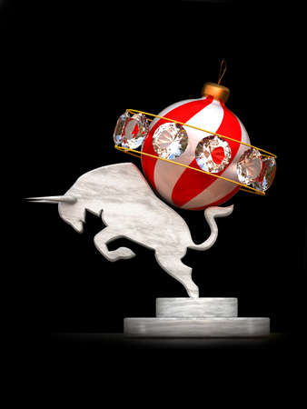 Figurine of a bull with a Christmas toy photo