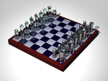 gamesmanship: Tablero de ajedrez con figuras de vidrio acero Foto de archivo