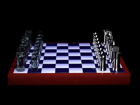 gamesmanship: Tablero de ajedrez con figuras de cristal y acero