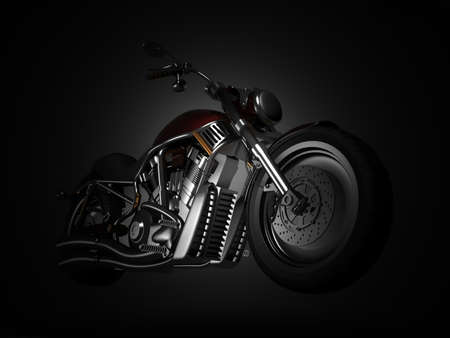 Motorcycle on a black background photo