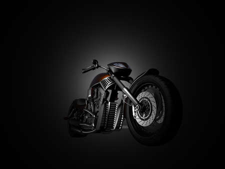 Motorcycle on a black background