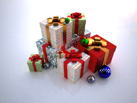 christmas toys and Gift boxes photo