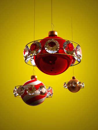christmas design toys on a yellow background photo