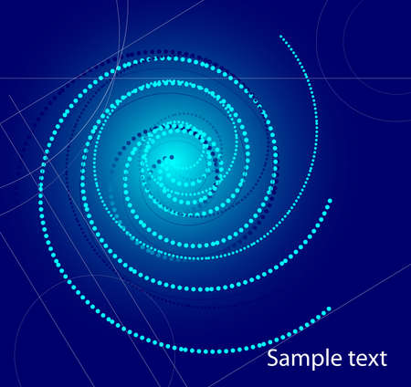 Abstract blue background with a rotating spiral Vector