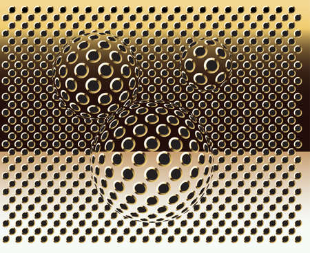 Gold grid background-vector with bubbles. Gold texture. Vector