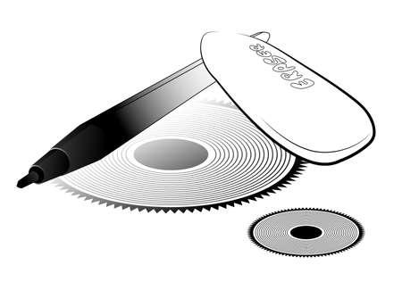 Vector illustration. Pen and eraser against symmetric figures Stock Vector - 10638399