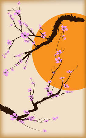 Vector ethnic illustration. A blossoming Oriental cherry against the sky and an inscription
