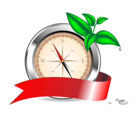 Vector illustration. A compass with a tape and a branch of a green sprout Vector