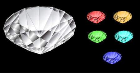 Colorful diamond vector set isolated on black background. Stock Vector - 10639080