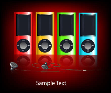 Vector background with multi-coloured mp3 players Stock Photo - 10639187