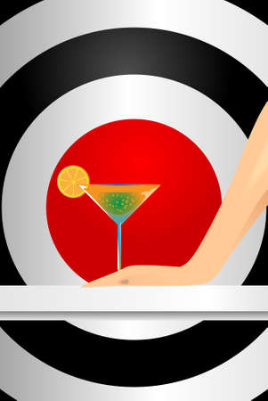 Hand with a martini glass on an abstract background Stock Vector - 10638369