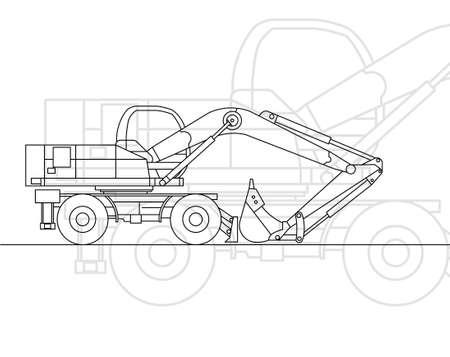 earthmoving: Dredge. Vector background Illustration