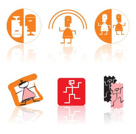 negligent: Set of vector icons on subjects of dance, fitness and entertainments Illustration