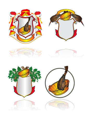 Vector illustration. A set heraldic symbols on subjects of cleanliness, health and Russian bath Stock Vector - 10639483