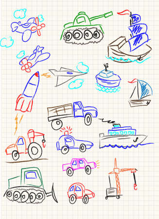 lift trucks: Vector elements of design stylised under childrens drawing a pencil. The technics sketch. Illustration