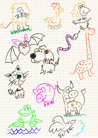 bat animal: Vector elements of design stylised under childrens drawing a pencil. A sketch of animals
